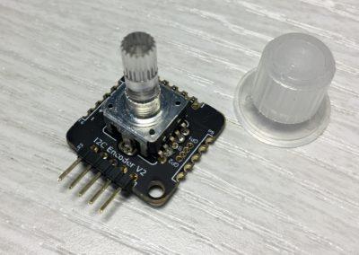 I2C Encoder V2.1 mounted with illuminated RGB encoder.